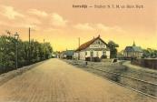 Ansichtkaart van het tramstation van Gorredijk.