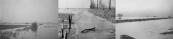 Een jaarlijks terugkerend beeld, ondergelopen landerijen tussen Langezwaag en Gorredijk. Gelukkig was dit in 1962 afgelopen door de bouw van een gemaal in de Kromten die zorgde voor de afvoer van het overtollige water.