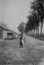 Het tramstation te Gorredijk zoals de onderwijzer Sipke Heijenga het rond 1900 zag.
