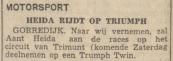 4) Uit de krant van 8-6-1950. Aant Heida rijdt op Triumph Twin.