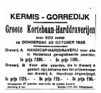 Advertentie Kermis kortebaan harddraverijen in 1926