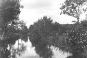 De Dwersfeart in Kortezwaag gezien in westelijke richting. Na demping werd er de weg ''Dekema'' aangelegd.