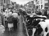 In 1988 werd op de najaarsmarkt te Gorredijk nog veel vee aangevoerd. Tien jaar later was het aanbod praktisch nihil. Links Jelmer v/d Schaaf met zijn vrouw aan de arm.
