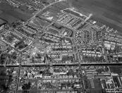 Luchtfoto van Gorredijk gemaakt omstreeks 1975.