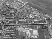 Luchtfoto van Gorredijk gemaakt omstreeks 1974.