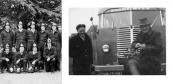 Personeel van de vrijwillige brandweer te Gorredijk. De linker foto v.l.n.r.: Commandant Coomans, Wobbe Wijnstra, Jacob v/d Wijk, Simon Jelsma, en Teije Humalda. Voor: N.N., Fokke Dijkstra, N.N., Anne W.de Jong. De rechter foto: Links Anne W. de Jong en rechts Teije Humalda.