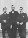 Het driemanschap dat de ''Volta'' oprichtte. V.l.n.r.: Johannes Beenen, Jan Sietses v/d Vegt en Sietse Teijema.