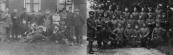 Gedurende de mobilisatie in de jaren 1914/1918 werden ook veel getrouwden opgeroepen. Ze deden veel dienst bij de grenzen van België en Duitsland. In hun vrije tijd hielpen zij daar de boeren waar zij meestal waren ingekwartierd. Op de linker foto ligt links vooraan Bartele Jelles Luchtenveld die sinds 1913 was getrouwd. Op de rechter foto knielt Sijtze Jelles Luchtenveld, een broer van Bartele. Na zijn terugkeer uit Duitsland als melker was hij in 1916 in Schoterland getrouwd.