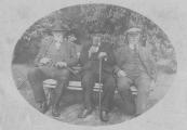 Drie heren die de schaapjes op het droge hadden. Links Job Posthuma, houtzaagmolenaar, Hendrik Feddes van Dam, vervener en Wiebren Ysaks de Haan die hetzelfde beroep uitoefende.