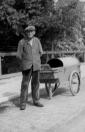 Gemeentelijke straatveger Jan Fokkema op 2 augustus 1951 aan de Nijewei.