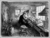 Hendrik Sjoerds Gaastra in zijn werkplaats aan de Kerkewal nr.13 te Gorredijk naar de tekening van Ids Wiersma uit 1923.