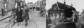 Albert Sinnema met zijn echtgenote op de Hoofdbrug tijdens de winkelweken van 1929. Hiernaast hun woning aan de Stationsweg met links een deel van de Mulo school waarvan hij hoofd was. Foto 1931.